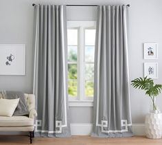 - just came across these...might look pretty on your wall...tie in the DR chairs. BUT might be blah...need to see Bordered Applique Drape | Pottery Barn