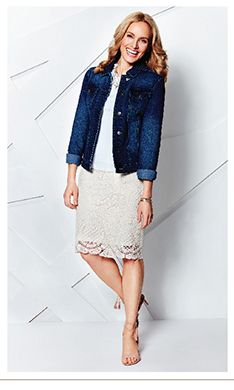 Lace Pull On Pencil Skirt