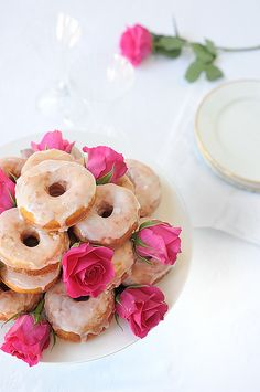 It's not even funny how much I want to try these Rosewater Glazed Italian Potato Doughnuts. Super pretty