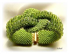 FREE SHIPPING Green Seed Bead Statement Bracelet Art by Szikati