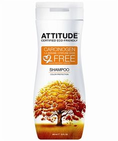 Wash your hair with ATTITUDE Shampoo Color Protection. The shampoo with all-natural uncontaminated ingredients free of any cancer-causing chemicals.