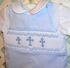 {So sweet for summer Sundays} Boys Christening Jon Jon Smocked Crosses on Light by GumdropGrove, $59.00