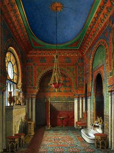 Eduard Hau. The New Museum of the Hermitage. Water color. ca 1860