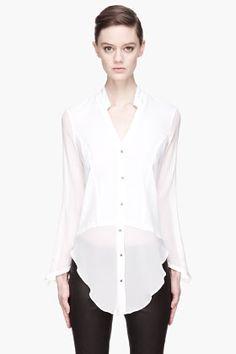 Helmut Lang White Silk-trimmed Lawn Cotton Shirt for women | SSENSE