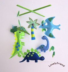 """Baby Mobile - Green Dinos Crib Mobile - """"Ancient Life""""  - Handmade Nursery Mobile (Match your bedding) on Etsy, $78.00"""