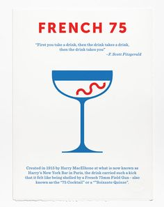 French 75 Print - screen print by Crispin Finn at Soma Gallery, Bristol Screen Print Poster, Poster Prints, Posters, French 75 Cocktail, Cocktail Illustration, New York Bar, Classic Cocktails, Menu Design, Deco