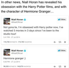 Niall loves Harry Potter! I love Harry Potter! The most Harry Potter films watched to a day were three! Still though, he loves Harry Potter! Two of my favorite things in one post.