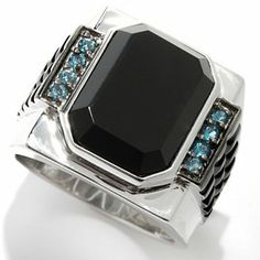 Mens en Vogue II 16 x 12mm Black Onyx & London Blue Topaz Studded Shank Ring