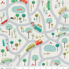 Gray Scenic Route Map From Riley Blake 1 Yard by StitchStashDiva, $8.95