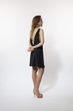 Miss Crabb Atomic Dress in Indigo - pure silk, open back, draping Birthday Wishlist, Draping, Pure Silk, Indigo, Yves Saint Laurent, Pure Products, Black, Dresses, Style