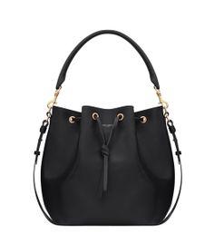 Saint Laurent by Hedi Slimane Borsa Bucket Bag - Black Leather Bucket Bag - ShopBAZAAR