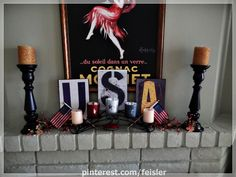2012 #Memorial day and #4th of #July #fireplace mantle #decoration ideas