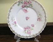 Antique Gutherz Butter Pat, Dessert Plate, Coaster, Royal Austria Porcelain Bone China with PInk Roses