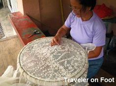 Embroiderers use métier a broder, or locally called as a tambor upon which the fabric is dragged out as tight as a drum's skin on this round wooden stretcher while patterns are being stitched Tambour Beading, Tambour Embroidery, Couture Embroidery, Ribbon Embroidery, Cross Stitch Embroidery, Embroidery Patterns, Folk Embroidery, Bordados Tambour, Les Philippines