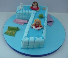 Swimming pool cake - maybe 2 round cakes connected to make a figure 8?