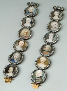Russia. St Petersburg. 1760s. Bracelet with Portrait Miniatures  Gold, silver, cut diamonds, rock cristal and miniatures; polished and painted. 17x2.2 cm. The State Hermitage Museum: Digital Collection -- Powered by IBM