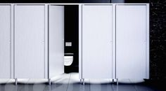 ICON - Public washroom toilet cubicle / hpl / glass / wooden by Thrislington Cubicles Tall Cabinet Storage, Locker Storage, Toilet Cubicle, Cubicles, Washroom, Toilets, Armoire, Public, Steel