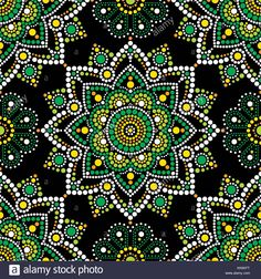 Download this stock vector: Aboriginal dot painting seamless pattern, bohemian Mandala vector dot art, retro folk design inspired by traditional art from Australia - KK6KFT from Alamy's library of millions of high resolution stock photos, illustrations and vectors.