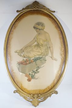 Antique Framed Gutmann Print Antique framed Gutmann print of the Message of the Roses. Beautiful presentation in an antique oval frame with convex glass. Circa 1915 Bessie Pease Gutmann print. Marked 641 Gutmann & Gutmann, NY. Original art print, signed and titled.