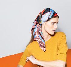 Malgosia Bela for Hermes FW2013 - Headscarf Scarf Wearing Styles, Scarf Styles, Turbans, Look Fashion, New Fashion, Hijab Fashion, Scarf Knots, Hermes Online, Textiles