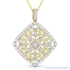 The featured pendant is cast in 14k yellow & white gold and showcases a diamond-shaped vintage-style design adorned with a princess cut center, round cut diamonds, & milgrain details.