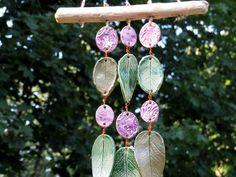Keramik++Windspiel+Klangspiel+Blätter+grün+flieder+von+gedemuck+auf+DaWanda.com