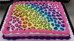 Rainbow cheetah print cake I made