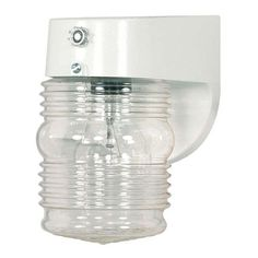 White One Light Outdoor Porch Wall Sconce With Clear Mason Jar And Photoelectric Sensor W