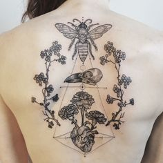 Honeybee, crow's skull and a heart pumping marigold blood, framed by hawthorn branches. By Pony Reinhardt at Tenderfoot Studio in Portland, OR.  For more, follow on IG: freeorgy