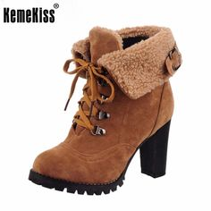 Size 32-43 Russia Winter Warm Thickened Fur Women High Heel Half Short  Ankle Boots