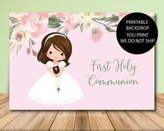 Order this Girl Communion Backdrop for additional decoration at your child's First Holy Communion. Order this printable prop today and save. Balloon Decorations Party, Baby Shower Centerpieces, Baby Shower Favors, Baby Shower Decorations, Baby Shower Invitations, First Communion Party, First Holy Communion, Wedding Favors, Party Favors