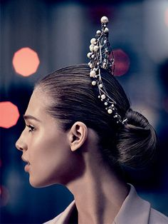 Ballerina hairstyle - tight and sleek chignon with regal pearl crown hair accessory