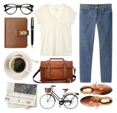 """""""Untitled"""" by hanaglatison ❤ liked on Polyvore featuring A.P.C., H&M, rag & bone and Mulberry"""
