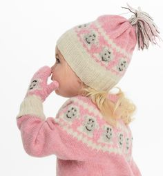 Eddi lue og votter - A Knit Story Winter Hats, Crochet Hats, Fair Isles, Knitting, Sewing, How To Make, Pink, Tejidos, Creative