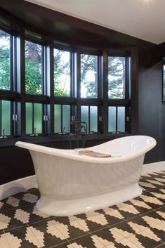 Christina & Ant Anstead's New Home | Christina on the Coast | HGTV Black And White Master Bathroom, White Bathrooms, Dream Bathrooms, Bamboo Roof, Upstairs Loft, Home Pictures, Bathroom Pictures, Modern Farmhouse Style, Loft Spaces