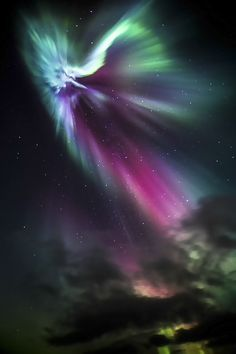 Aurora Borealis in Iceland...but it looks exactly like an angel!