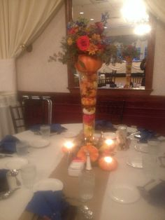 Fall wedding centerpiece from a wedding I attended