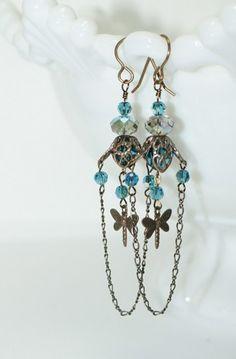Dragonflies at Dusk Boho/Vintage Style Brass Earrings | pinksaffron - Jewelry on ArtFire