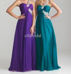 2013 Custom Made Grape Purple Orange Teal Green Chiffon A Line Floor Length Beaded One Shoulder Evening Dresses Wedding Party Gown Ella1002