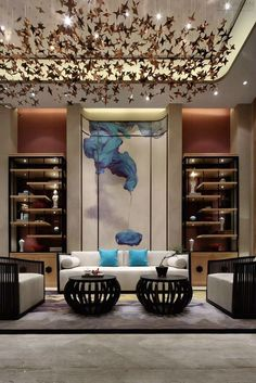 Best Place to find hotel lobby design Chinese Interior, Asian Interior, Home Interior, Interior Design, Hotel Lobby Design, Lobby Furniture, Design Moderne, Living Room Interior, Living Rooms