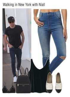 """""""Walking in New York with Niall"""" by chanelniall ❤ liked on Polyvore featuring Wrangler, MANGO, Chanel, Henri Bendel, Talula, OneDirection, Niall, 1d and NiallHoran"""