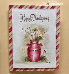 Just an easy Thanksgiving card for Day 4 of Clay Pot Crafts, Paper Crafts, Fall Cards, Christmas Cards, Art Impressions Stamps, Stamping Up, Rubber Stamping, Thanksgiving Cards, Watercolor Cards