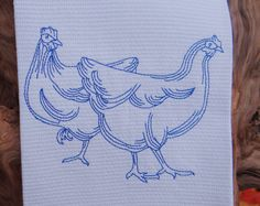 Blue Hens Cotton Huck Kitchen Towel by TheBridesHopeChest on Etsy