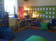 classroom library setup.  Love the floor pillows!! DREAM ROOM!! My color scheme is blue and green .  This is awesome!