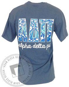 Alpha Delta Pi Beach Pattern Pocket Tee by Adam Block Design | Custom Greek Apparel & Sorority Clothes | www.adamblockdesign.com