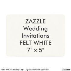 "FELT WHITE 110lb 7"" x 5"" Wedding Invitations"