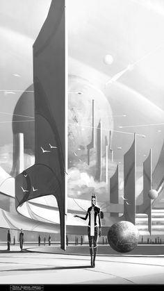 AaeRA - Concept Art by George Munteanu, Temple Entrance Environment Sketch, Environment Concept Art, Environment Design, Cosmos, Alien Concept Art, Retro Futuristic, Matte Painting, Concept Architecture, Fantasy Landscape