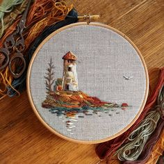 Hand Embroidery Patterns, Diy Embroidery, Cross Stitch Embroidery, Contemporary Embroidery, Thread Painting, Needlework, Decoration, Lighthouse, Crafting