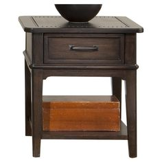 Stylish nailhead details accent the classic silhouette of this 1-drawer side table, offering a touch of industrial-inspired style for your living room or mas...