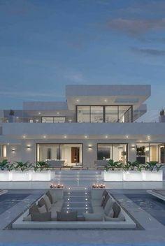 Dream House Interior, Luxury Homes Dream Houses, Dream Home Design, Modern House Design, Modern Mansion Interior, Luxury Modern House, Luxury Living, Modern Living, Modern Exterior House Designs